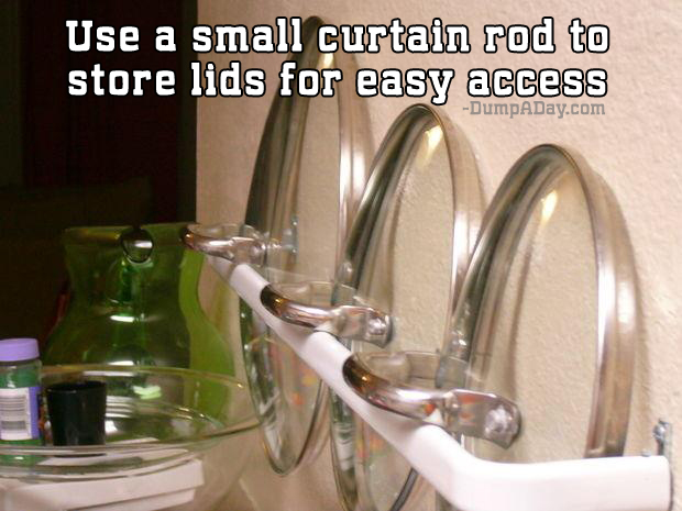 Use a small curtain rod to store lids for easy access