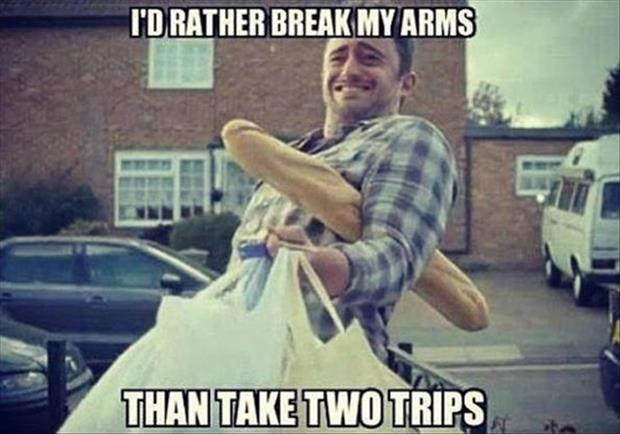 a carrying in groceries
