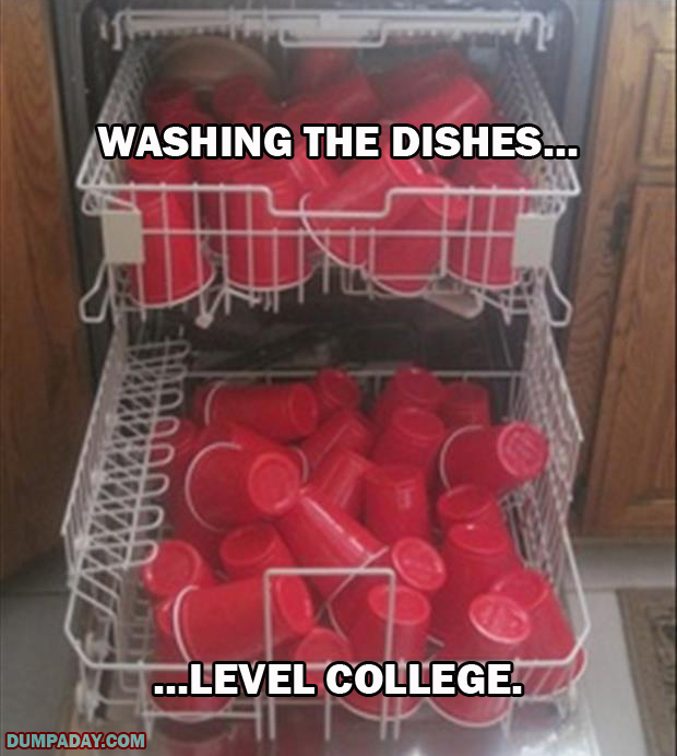 a doing the dishes level college