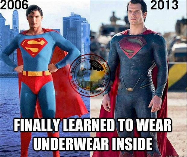 a superman wearing his underware on the inside