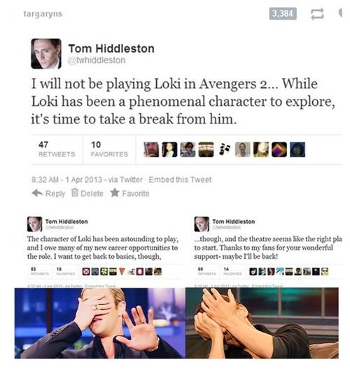 a tom hiddleton twitter quotes will not return as loki in avenger's 2