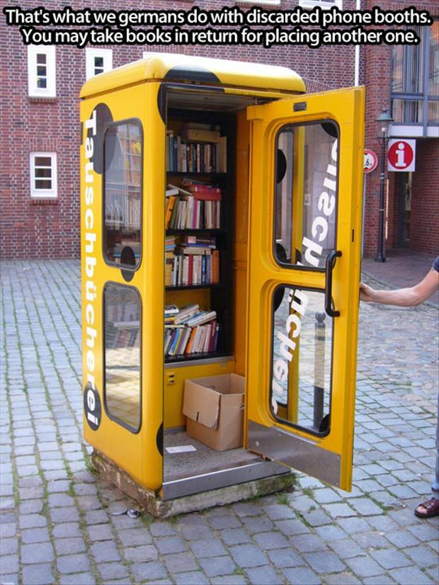 books in old phone booth