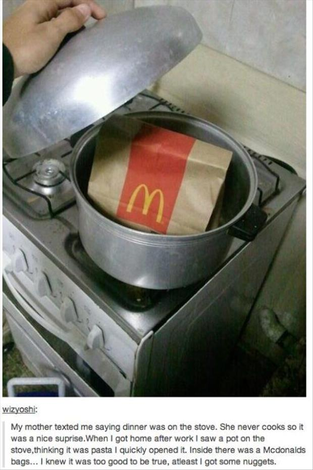 dinner is on the stove