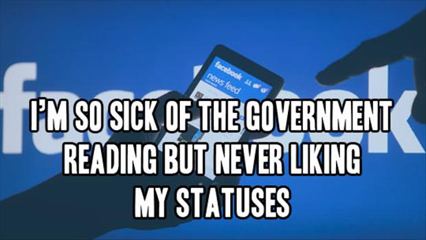 government liking my facebook status