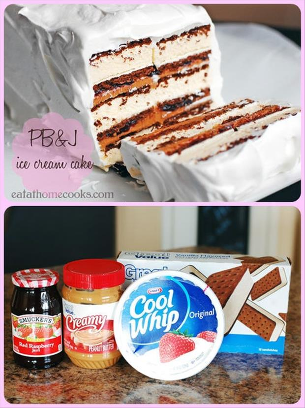 peanut butter and jelly ice cream cake