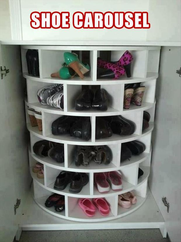shoe rack, lazy susan, smart idea
