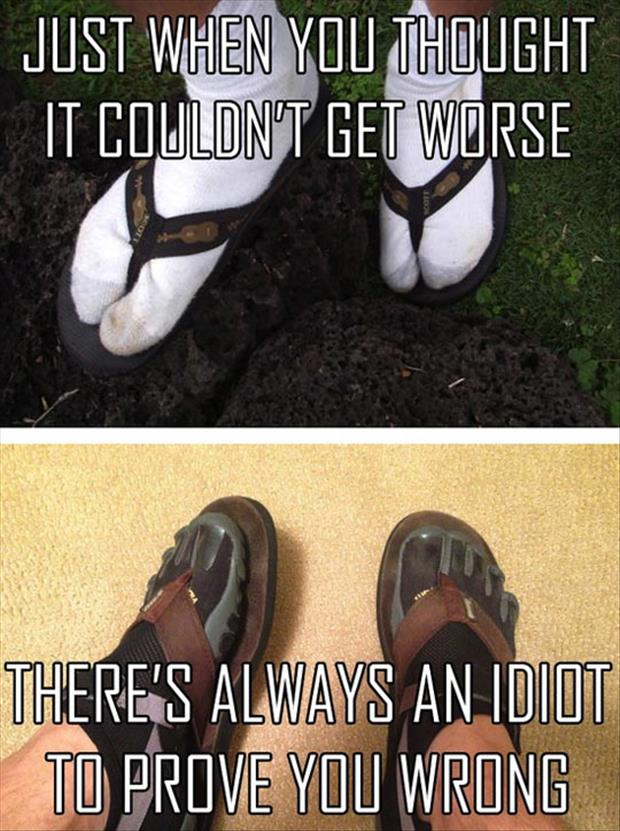 socks and flip flops