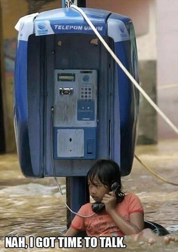 talking on the phone during a flood