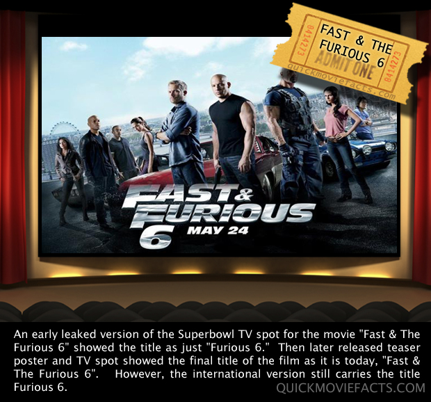 Fast and Furious 6 Fact