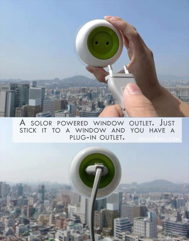 Geek Genius Ideas- solor powered window outlet