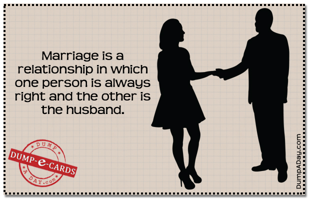 One person is right in a MarriageDump E-card