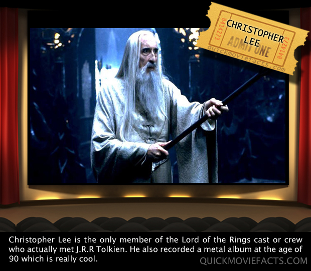 Quick Movie Facts- Christopher Lee -Lord of The Rings