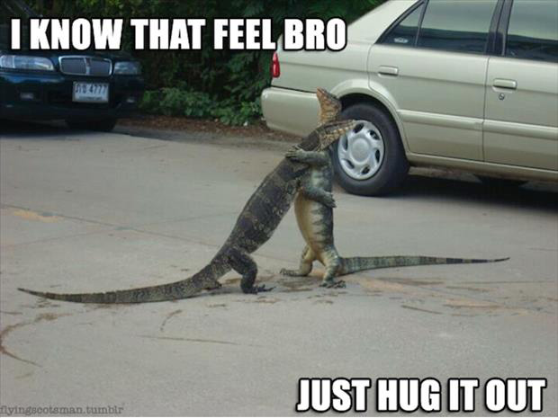 a I know the feeling just hug it out