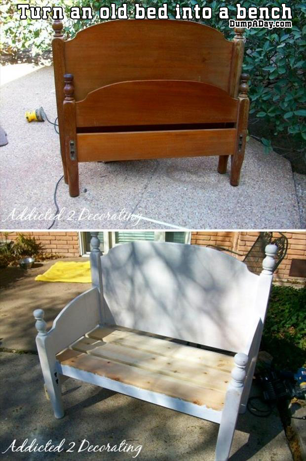 a turn an old bed into a bench