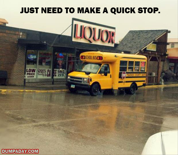 bus stops by liquor store