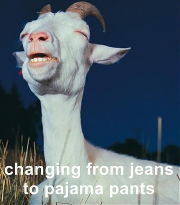 changing from jeans to pajamas