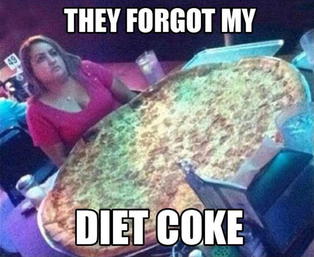 diet coke and huge pizza