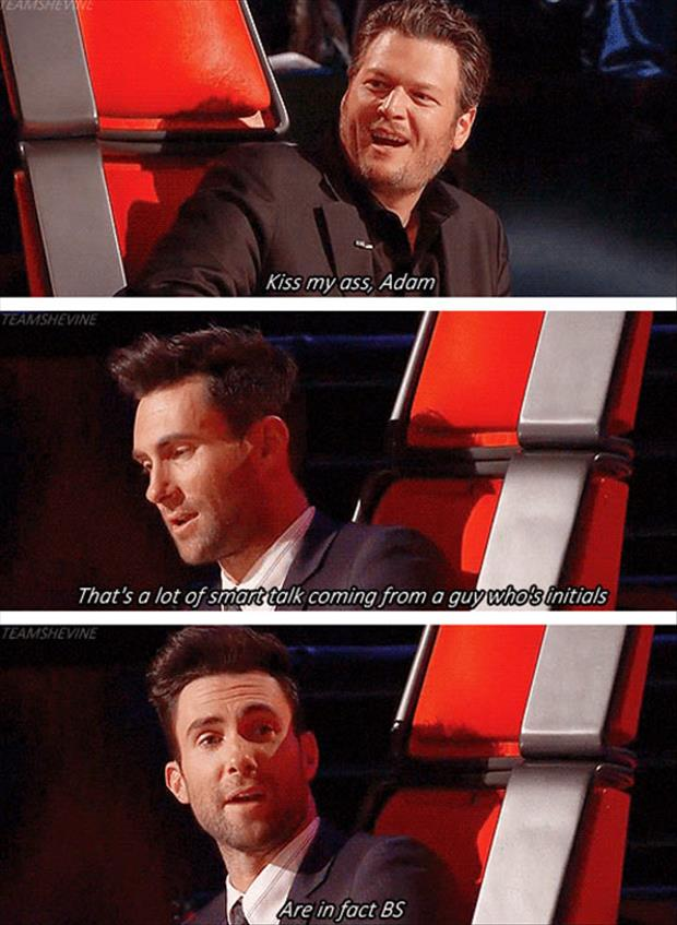 funny blake shelton and adam on the voice