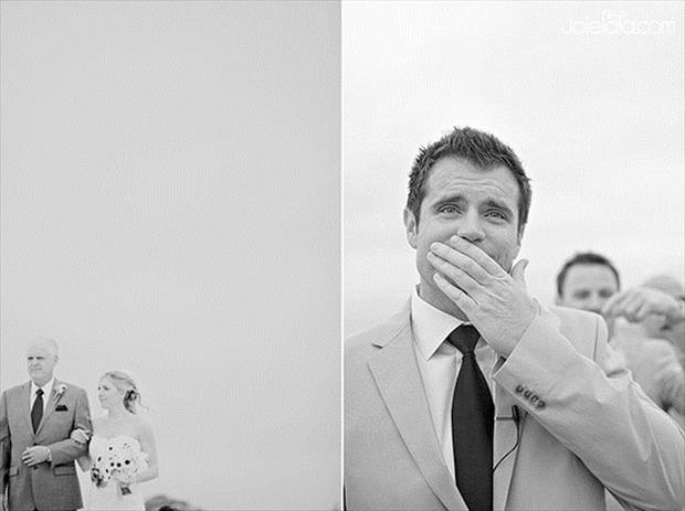grooms blown away by how beautiful their brides are (3)