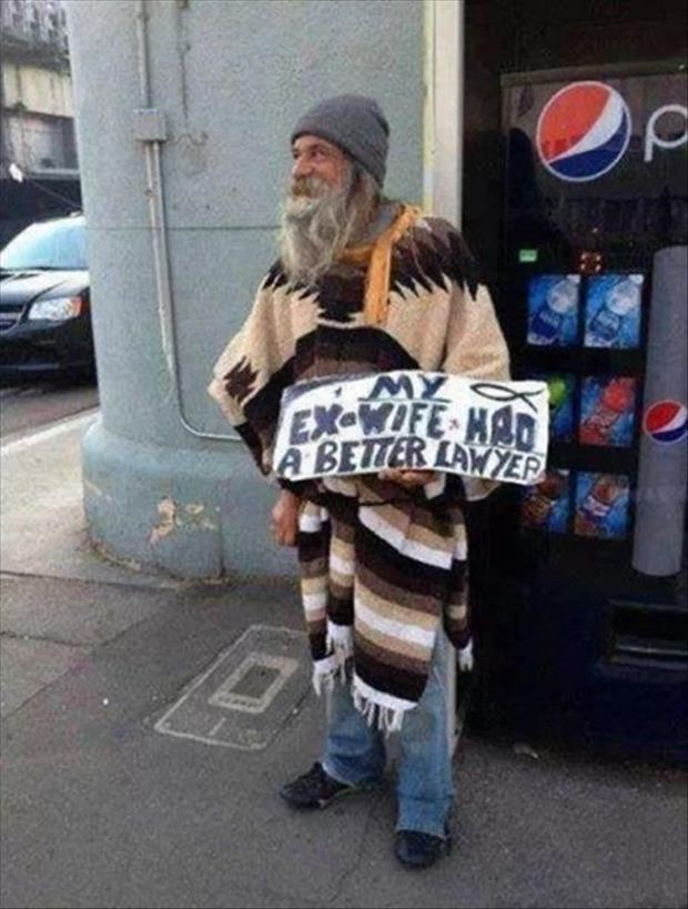 homeless man signs funny pictures