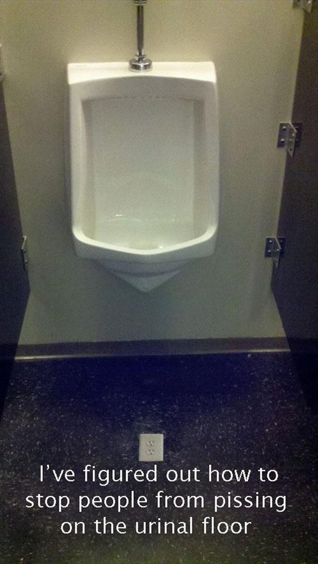 how to stop men from peeing on the bathroom floor