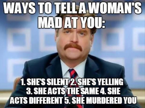 how to tell when a woman is mad