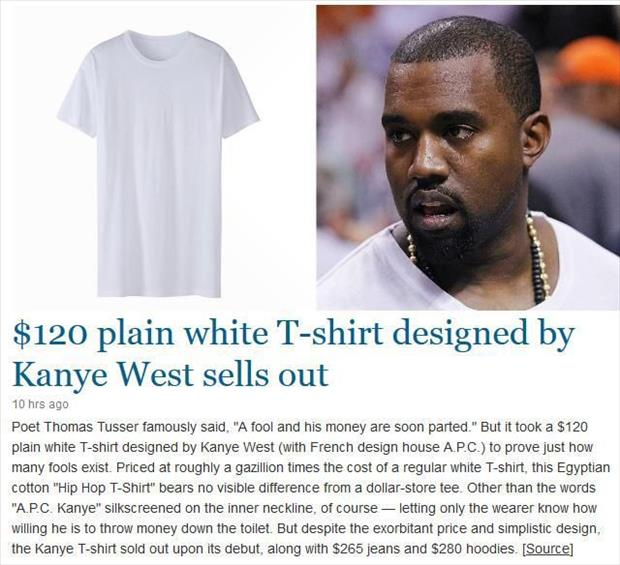 kayne west plain white tshirts sell out