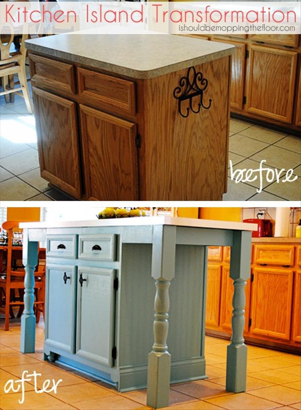 kitchen island before and after craft projects
