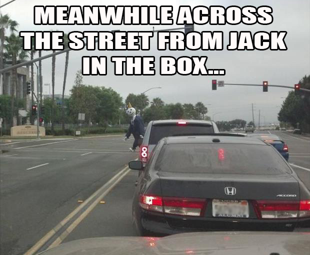 meanwhile at the intersection near the Jack in the box head quarters