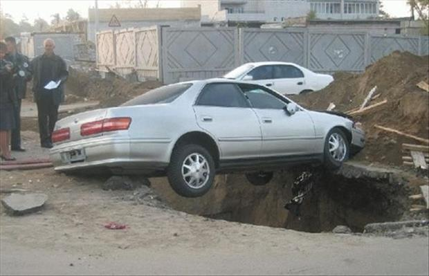 oh shit moments car in hole