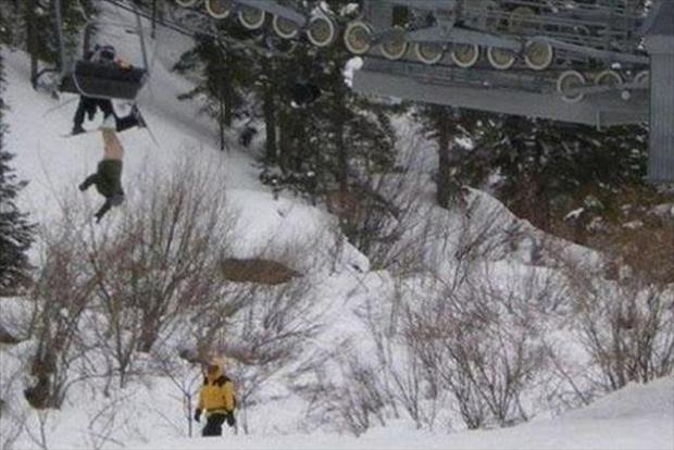 oh shit moments falling from ski lift
