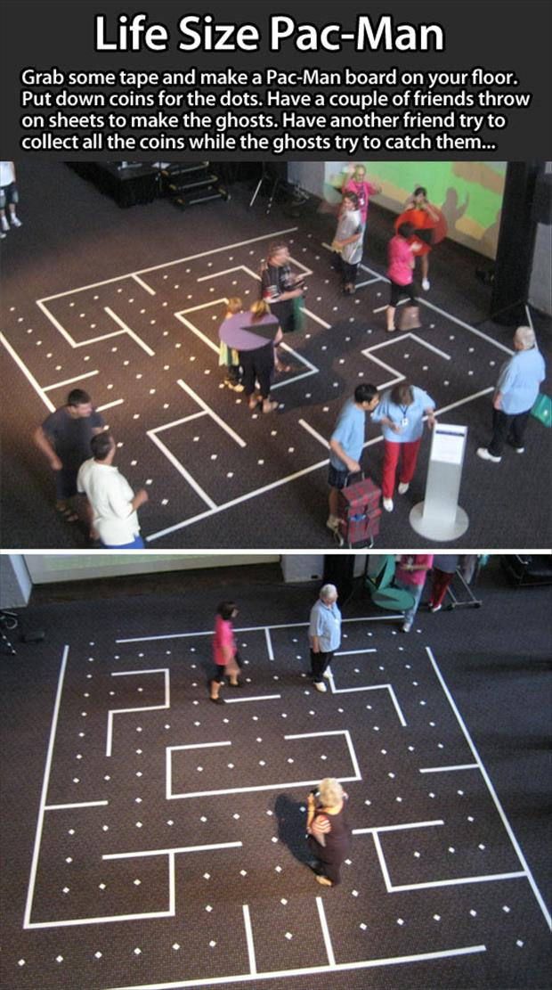 Pac man in real life dump a day for Small room youth group games