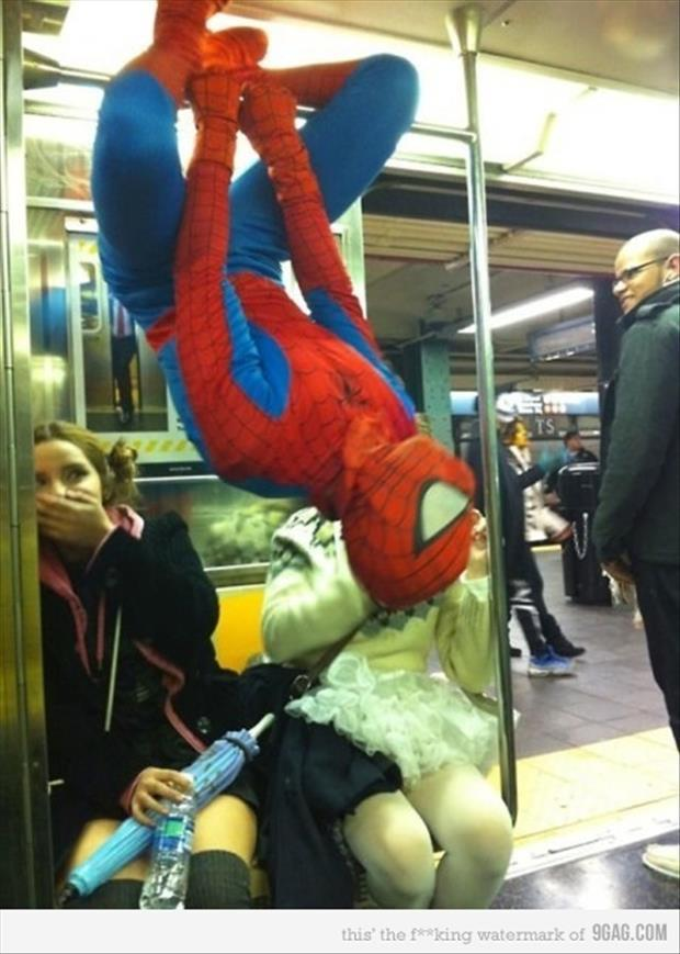 spiderman on new york subway