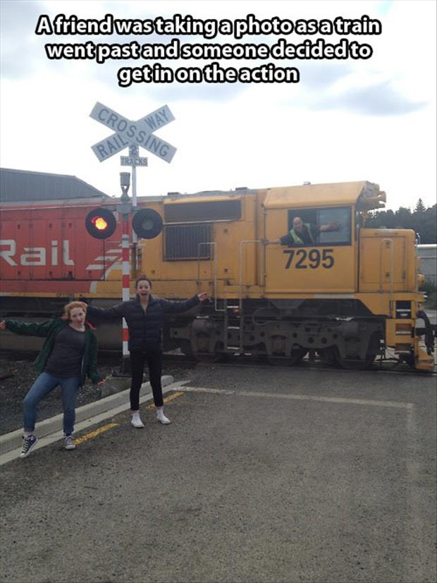 train photobomb