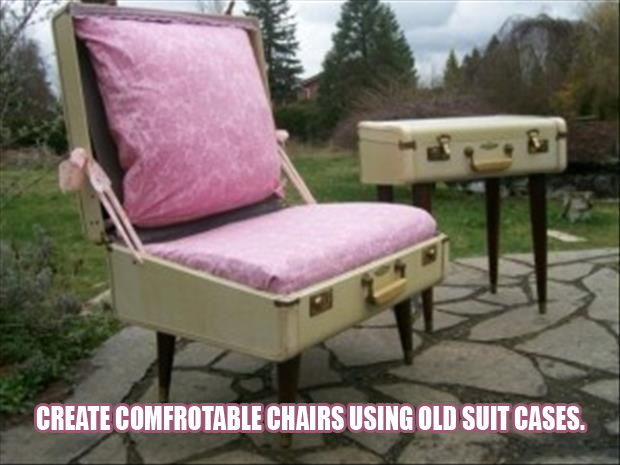 turn an old suitcase into a chair