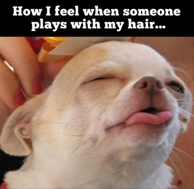 woman plays with my hair