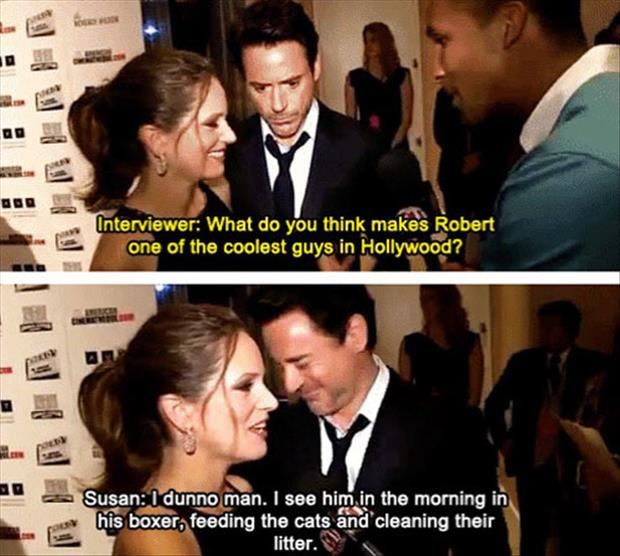 a Robert Downey jr's wife funny quotes