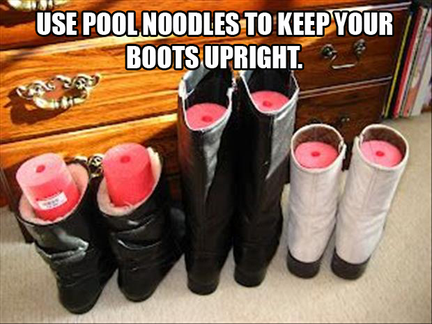 a Use pool noodles to keep your boots upright