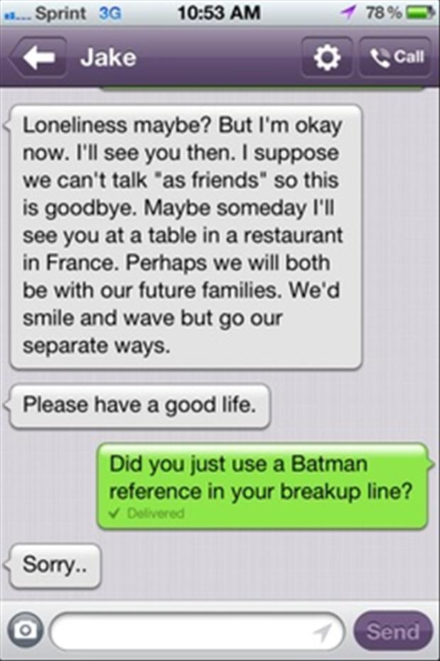 batman texts breakup