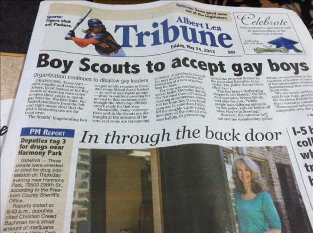 boy scouts accept gay boys in the back door