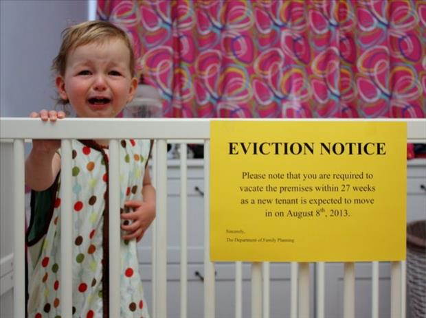 eviction notice funny baby