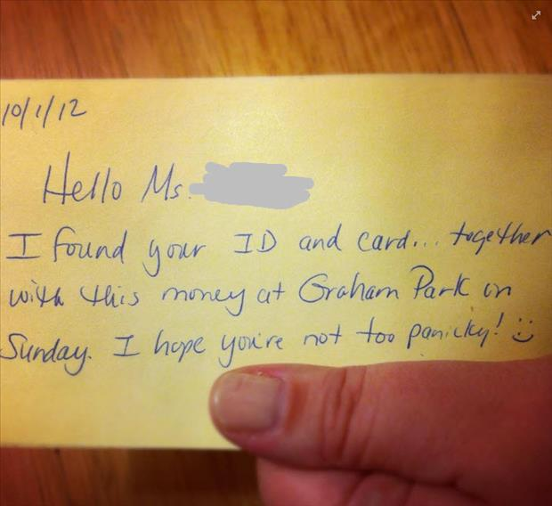 faith in humanity restored note