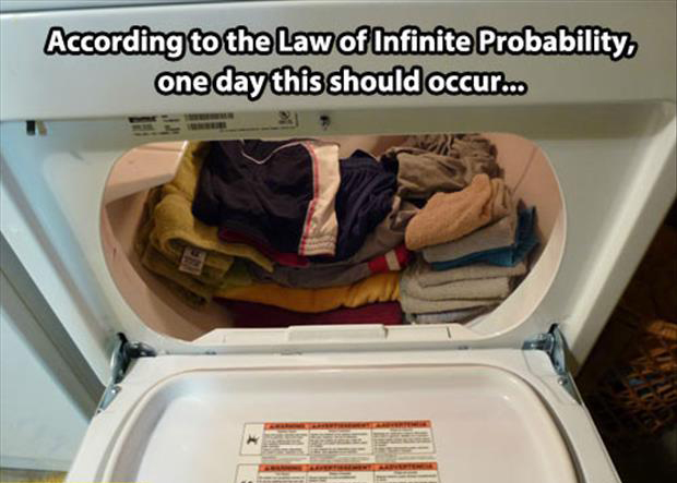 folded laundry in the dryer