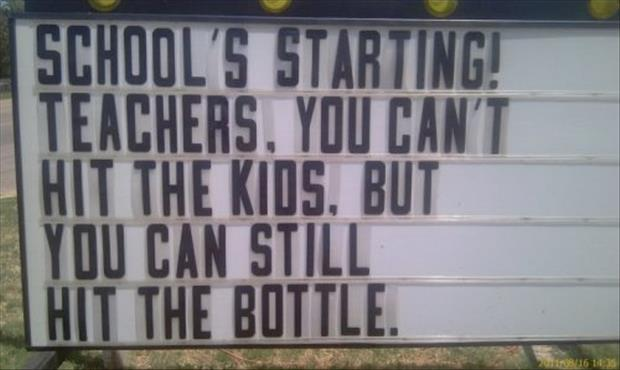 funny back to school signs