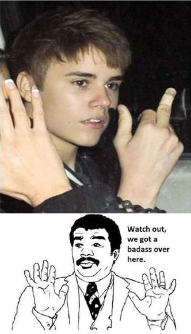 funny justin beiber flipping people off