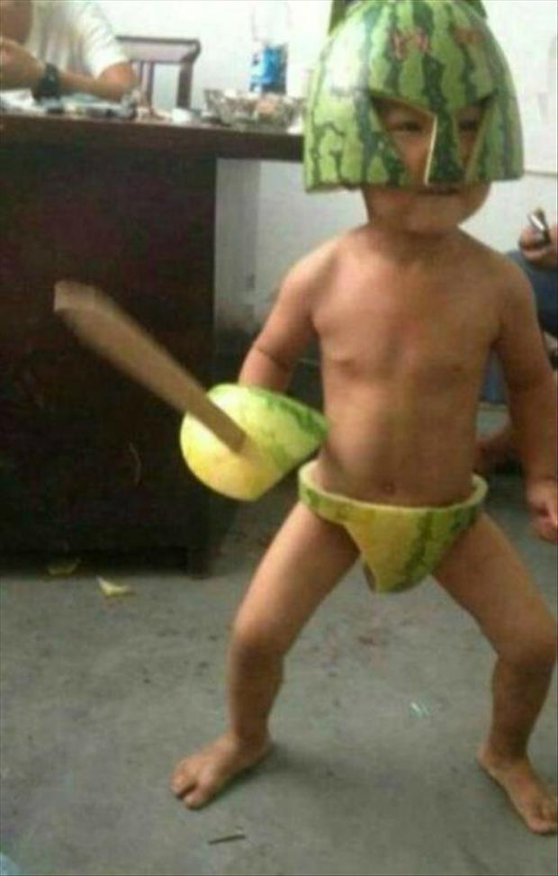 funny kid with watermelon