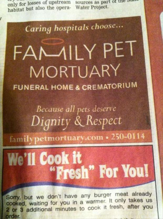 funny newspaper ads