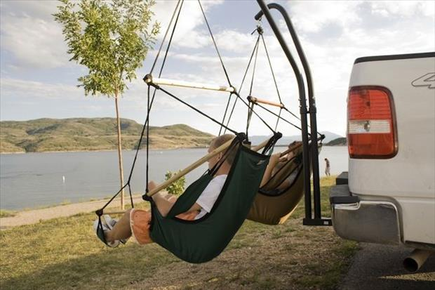 hammock swings on the back of a truck