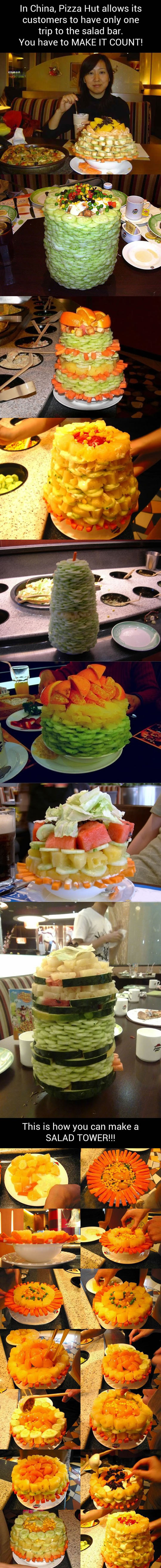 how to build a salad tower