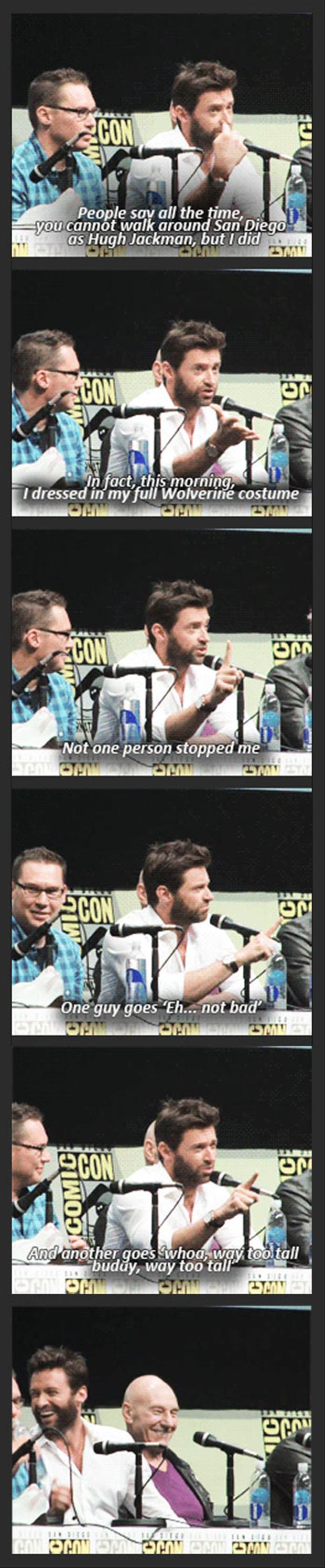 hugh jackman as wolverine at comic con